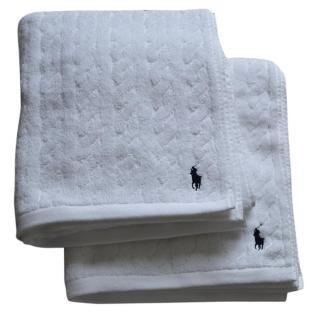Ralph Lauren Home white cable bath towel x 2
