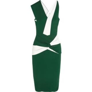 Roland Mouret Green and White Dress
