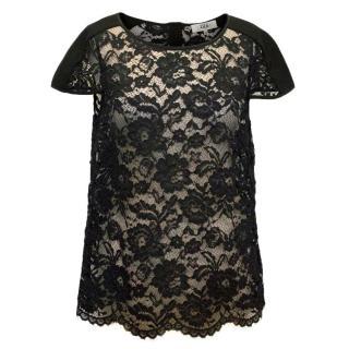 Tibi Black Sheer Lace Top