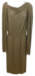 Lanvin brown draped shift dress