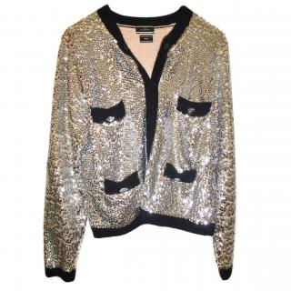 Malene Birger silver sequinned cardigan