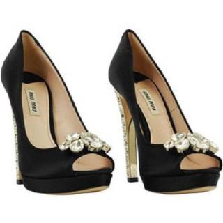 Miu Miu Jewel Crystal Heels Black Silk Open Toe Evening Shoes