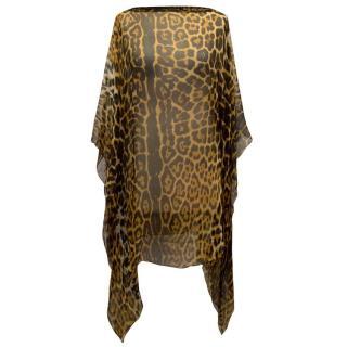 Yves Saint Laurent Leopard Print Sheer Blouse