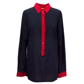 St. John Navy and Red Silk Blouse