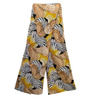 Salvatore Ferragamo Printed Loose Wrap Cotton Trousers