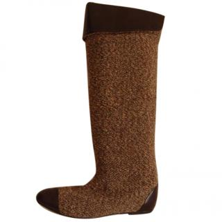 Bimba y Lola brown leather and wool boots
