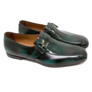 Bottega Veneta Black and Green Monk Strap Shoes