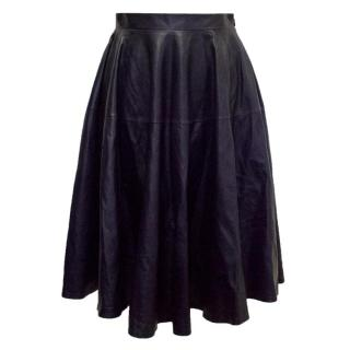 Christian Dior Navy Leather Mid-Length Skirt