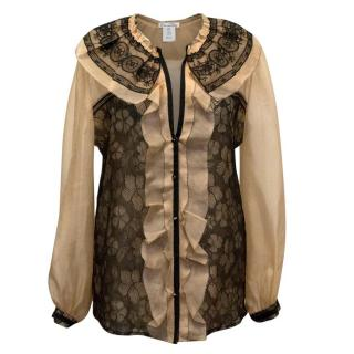 Oscar de la Renta Nude Sheer Blouse with Black Lace