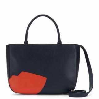 Lulu Guinness Abstract Lips Smooth Leather Wanda Handbag