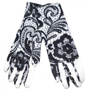 Dolce & Gabbana lace print wool gloves