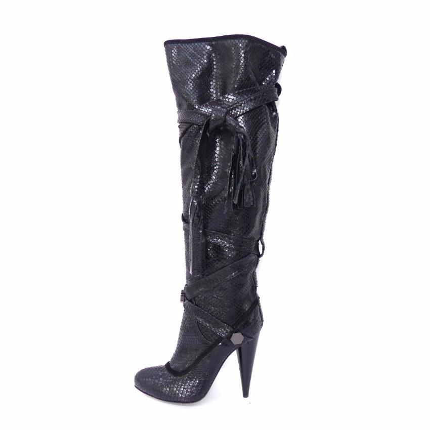GALLIANO Black Python Leather Thigh High Boots
