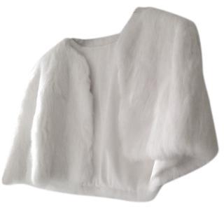 Charlie Brear White Rabbit Silk/Fur Stole/Jacket
