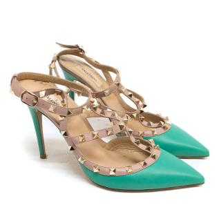 Valentino Teal Closed Toe Rockstud Pump