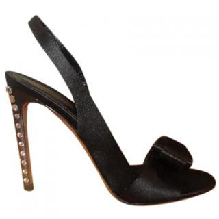 Gianvito Rossi Black Satin Diamante Heel