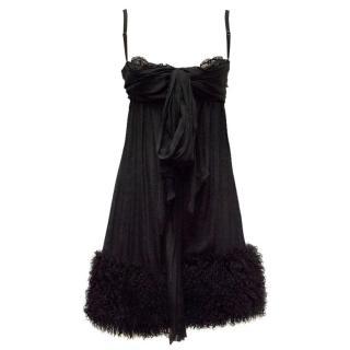Dolce & Gabbana Black Shearling Trimmed Babydoll