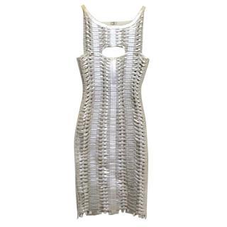 Herve Leger Silver Metallic Woven Bodycon Dress