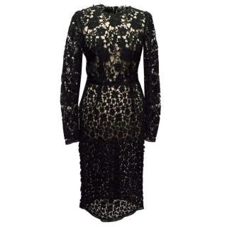Dolce & Gabbana Black Crochet Long-sleeve Dress