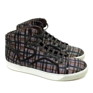 Lanvin Men's Checked High-Top Trainers
