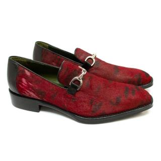 Donald J Pliner Red Pony Hair Loafers