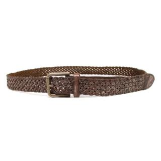 Dolce & Gabbana Brown Leather Woven Belt