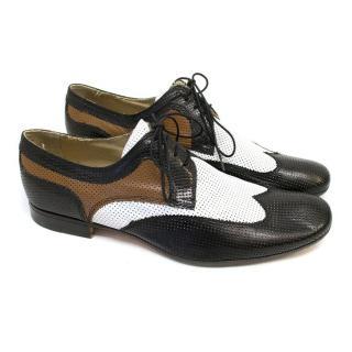 Bottega Veneta Black, White & Brown Dress Shoes