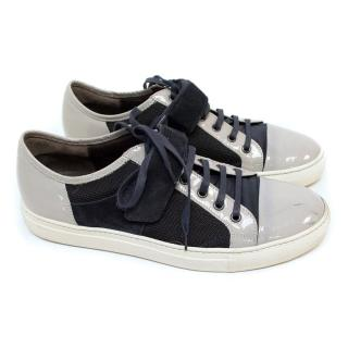 Lanvin Grey & Navy Canvas Trainers