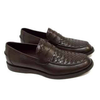 Bottega Veneta Brown Weave Loafers