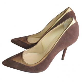 Malone Souliers chocolate brown suede heels