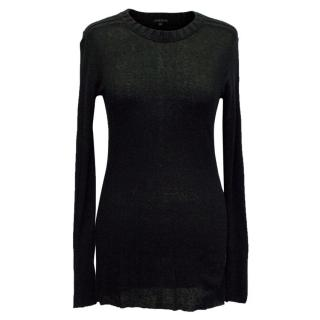Theory Black Leightweight Jumper with Knitted Neckline