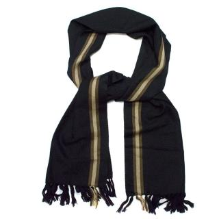 Gucci Black Scarf with Brown Stripes
