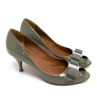 Salvatore Ferragamo Grey Patent Leather Pumps