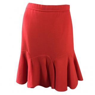 Carven Red Flutter Skirt