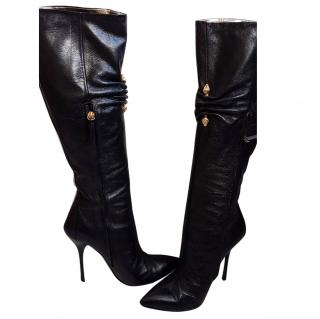 Roberto Cavalli knee leather boots