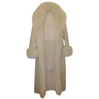 Bespoke Shearling and Fox white fur coat
