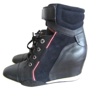 Bally Navy Wedge Trainers