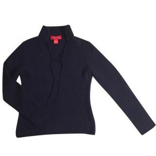 SHANGAI TANG wool & angora navy blue sweater