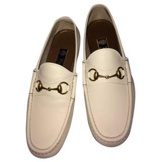 Gucci men's white horsebit loafers