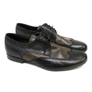 Bottega Veneta Black and Brown Lace Up Dress Shoes