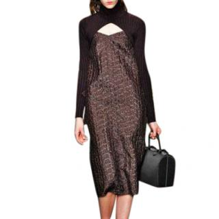 CARVEN Runway Maroon Jacquard Dress sz FR 34