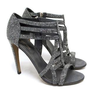Sergio Rossi Grey Crystal Sandals
