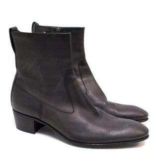 Yves Saint Laurent Brown Ankle Leather Boots