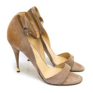Paul Andrew Taupe Suede Laura Sandals