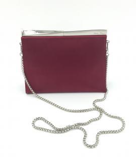 Salvatore Ferragamo Red Satin Evening Shoulder Bag Clutch