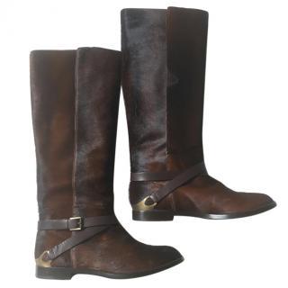 Fratelli Rossetti dark brown leather knee boots- pony skin