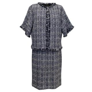 St. John Navy & White Tweed Dress with Matching Jacket