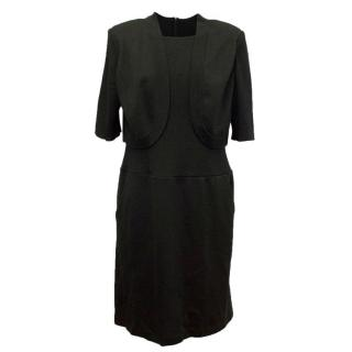 St John Black Wool Dress & Black Bolero Jacket
