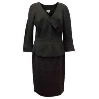 Armani Black Textured Skirt Suit