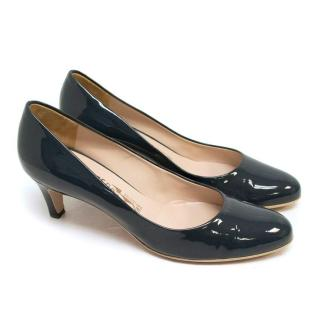 Salvatore Ferragamo Blue Patent Kitten Heels