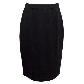 St. John Black Knitted Straight Skirt
